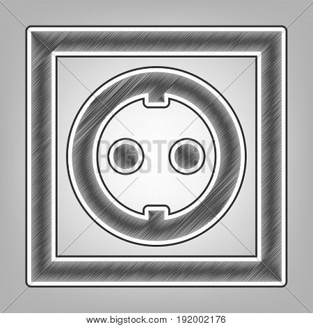 Electrical socket sign. Vector. Pencil sketch imitation. Dark gray scribble icon with dark gray outer contour at gray background.