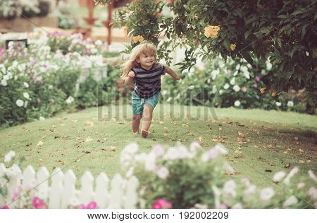 Kid Or Happy Small Boy Outdoor Near White Wooden Fence
