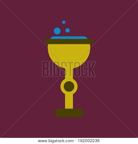 flat icon on stylish background of cup potion