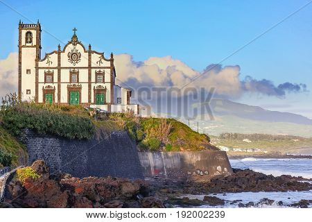 Church On The Seafront Town Of Sao Rogue On Sao Miguel Island