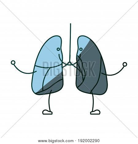 blue color shading silhouette caricature with happy face respiratory system vector illustration