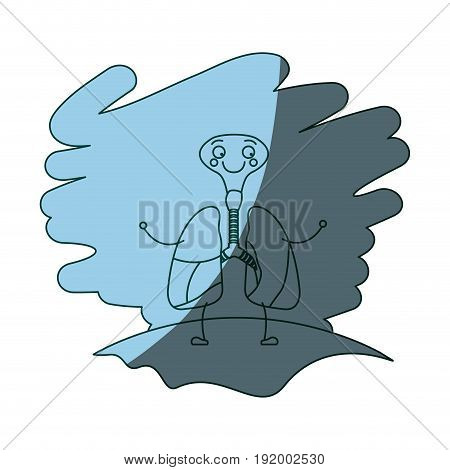 blue color shading scene in grass with silhouette caricature respiratory system with windpipe vector illustration