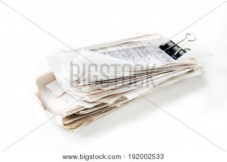 large stack of checks sealed Binder Clip