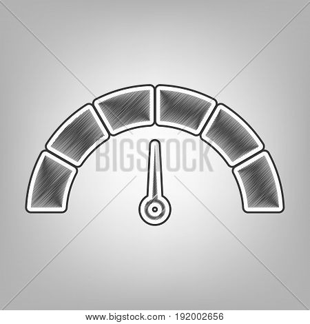 Speedometer sign illustration. Vector. Pencil sketch imitation. Dark gray scribble icon with dark gray outer contour at gray background.