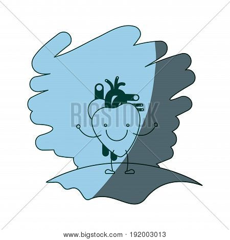 blue color shading scene in grass with silhouette caricature happy face heart system human body vector illustration