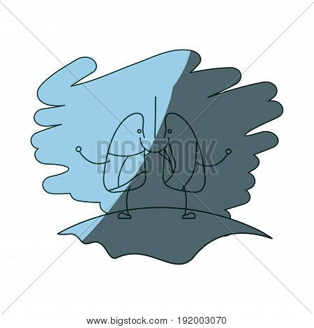blue color shading scene in grass with silhouette caricature happy face respiratory system vector illustration