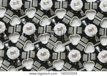 Black and white industrial background of the LEDs