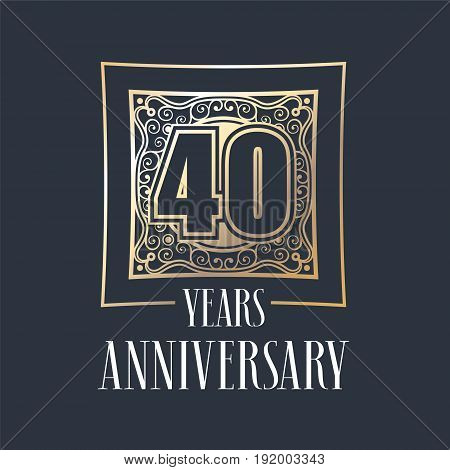 40 years anniversary vector icon logo. Graphic design element with golden frame and number for 40th anniversary decoration
