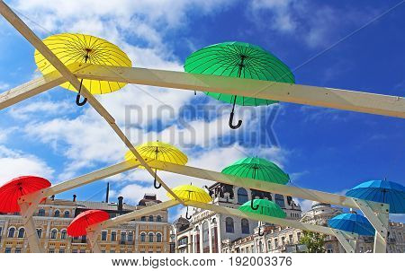 KYIV, UKRAINE - MAY 01, 2017: Bright umbrellas decoration in fan zone for international song competition Eurovision-2017 on Sofia square