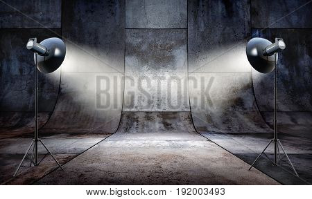 3D rendering of a studio background of concrete