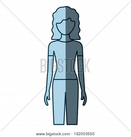 blue color shading silhouette faceless front view woman with pants and curly hair vector illustration