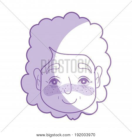 silhouette old woman face with hairstyle and expression vector illustration