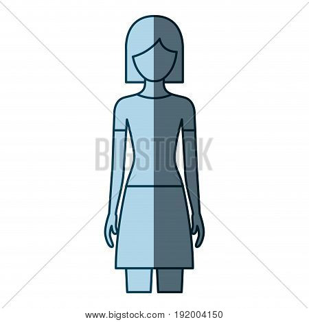 blue color shading silhouette faceless front view woman with skirt and short hair vector illustration