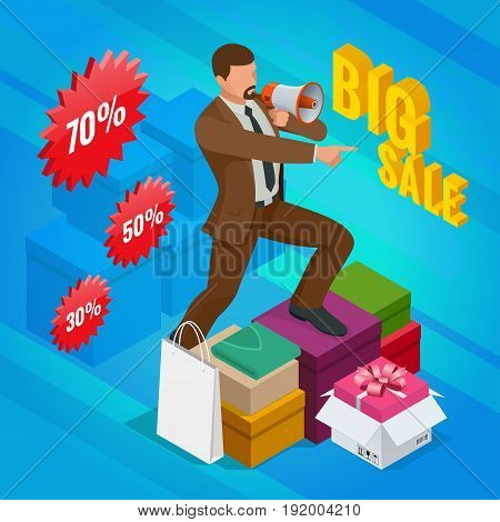 Isometric Man with loudspeaker. E-commerce, shopping, discount, Big sale, buy now concept. Vector illustration in flat, cartoon style