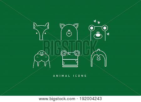Six modern funny contour animal cartoon icons