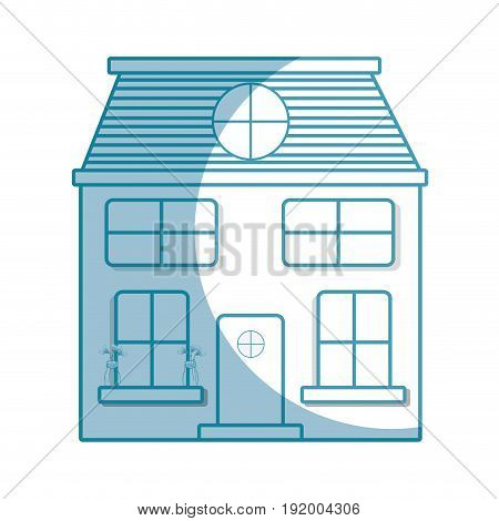 silhouette house with two floor to have a good home vector illustration
