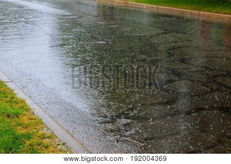 View From Ground Of Traffic On Wet Road, Highway With Mist Splash After Rain