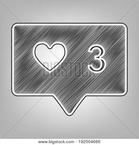 Like and comment sign. Vector. Pencil sketch imitation. Dark gray scribble icon with dark gray outer contour at gray background.