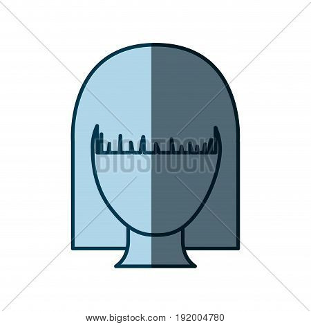 blue color shading silhouette faceless woman with straight hairstyle vector illustration