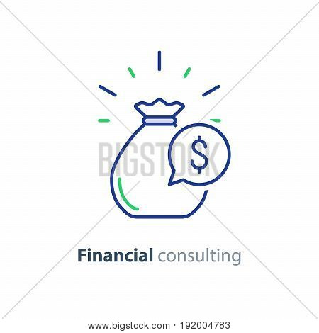 Financial advisory, business consulting, investment assistance, finance guidance, money bag, vector mono line icon