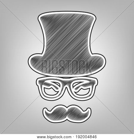 Hipster accessories design. Vector. Pencil sketch imitation. Dark gray scribble icon with dark gray outer contour at gray background.