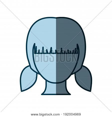 blue color shading silhouette faceless girl with pair pigtails hairstyle vector illustration