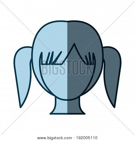blue color shading silhouette faceless girl with high pigtails hairstyle vector illustration