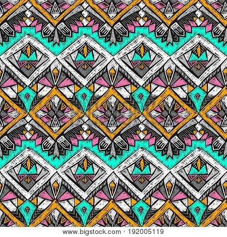 Tribal Doodle Pattern Native Sketch Ethnic Fabric Design 3