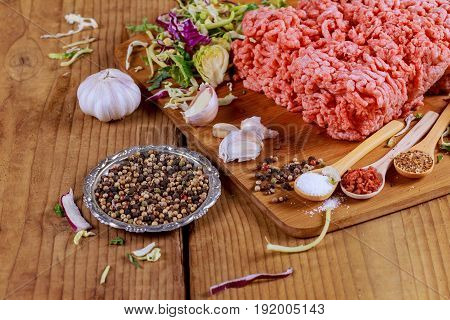 Minced Beef, Onion, Garlic Black Pepper Ready For Cooking