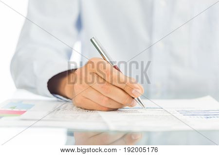 Business sign man businessman contract table white