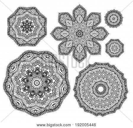 Linear carelessly drawn by hand a vector sketch ornamental mandala set. Abstract monochrome line art backdrop template collection. Black Florist decorative design element. Beauty illustration.