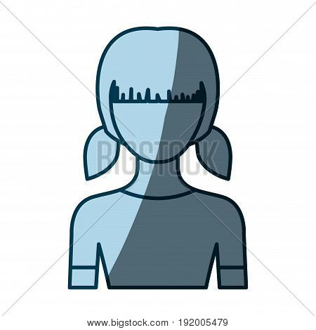 blue color shading silhouette faceless half body girl with pigtails hairstyle vector illustration