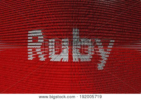 Ruby in the form of binary code, 3D illustration