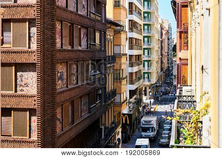 Alicante Spain - May 16; 2017: Narrow streets of Alicante city center. View from the above. Alicante is a main resort city on the Costa Blanca. Spain