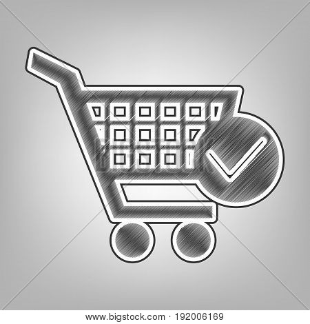 Shopping Cart with Check Mark sign. Vector. Pencil sketch imitation. Dark gray scribble icon with dark gray outer contour at gray background.
