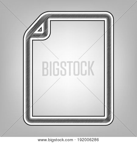 Vertical document sign illustration. Vector. Pencil sketch imitation. Dark gray scribble icon with dark gray outer contour at gray background.