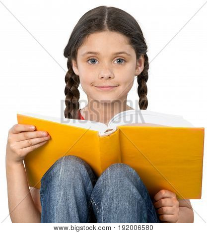 Girl little book student beautiful person young