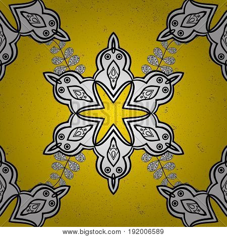 Good for greeting card for birthday invitation or banner. Pattern medieval floral royal pattern. Vector illustration. Dim on yellow background. Decorative symmetry arabesque. poster