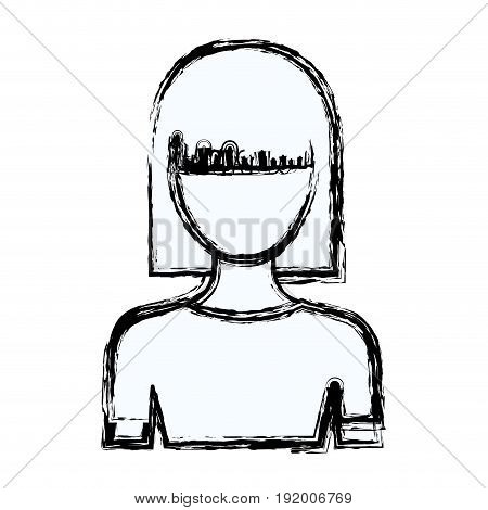 blurred silhouette faceless half body young woman with straight medium hairstyle vector illustration