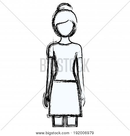 blurred silhouette faceless front view woman with skirt and collected hairstyle vector illustration