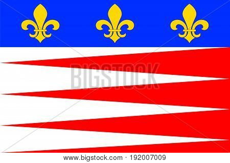 Flag of Castres is a commune and arrondissement capital in the Tarn department and Occitanie region in southern France. Vector illustration