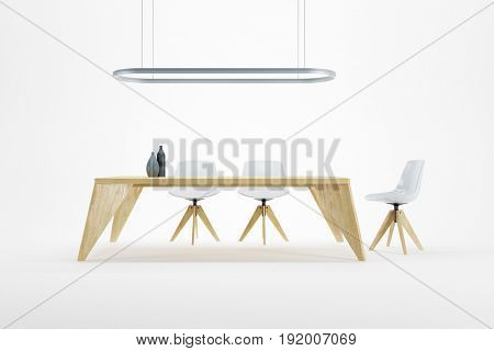 minimalism style interior of dining room, 3d rendering