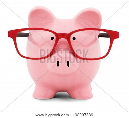 Red bank glasses piggy white background isolated
