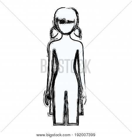blurred silhouette faceless front view girl naked body with pigtails hairstyle vector illustration