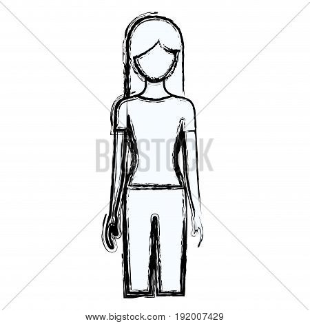 blurred silhouette faceless front view woman with long hair vector illustration