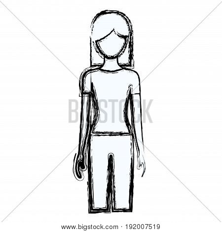 blurred silhouette faceless front view woman with pants and short hair vector illustration