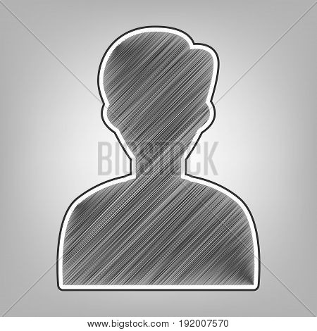 User avatar illustration. Anonymous sign. Vector. Pencil sketch imitation. Dark gray scribble icon with dark gray outer contour at gray background.