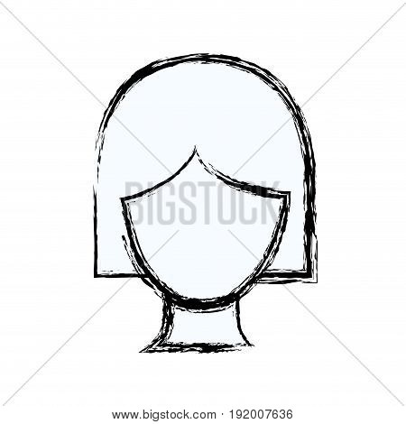 blurred silhouette faceless woman with short hairstyle vector illustration