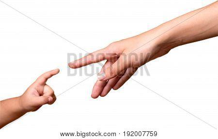Human adult child man hand green white