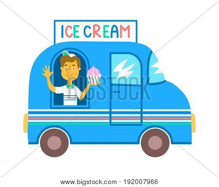 Communicable seller in a blue ice cream truck isolated on white background. Street food business colorful cartoon illustration. Smiling guy in a dessert delivery car. Summer snack bar vehicle.